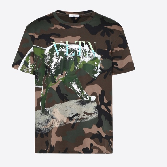af2a0a401a679 Valentino Shirts | Camouflage Tshirt With Animal Print | Poshmark